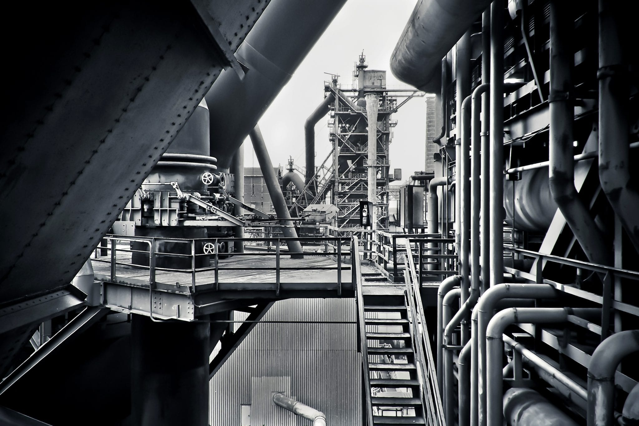 black-and-white-factory-industrial-plant-415945